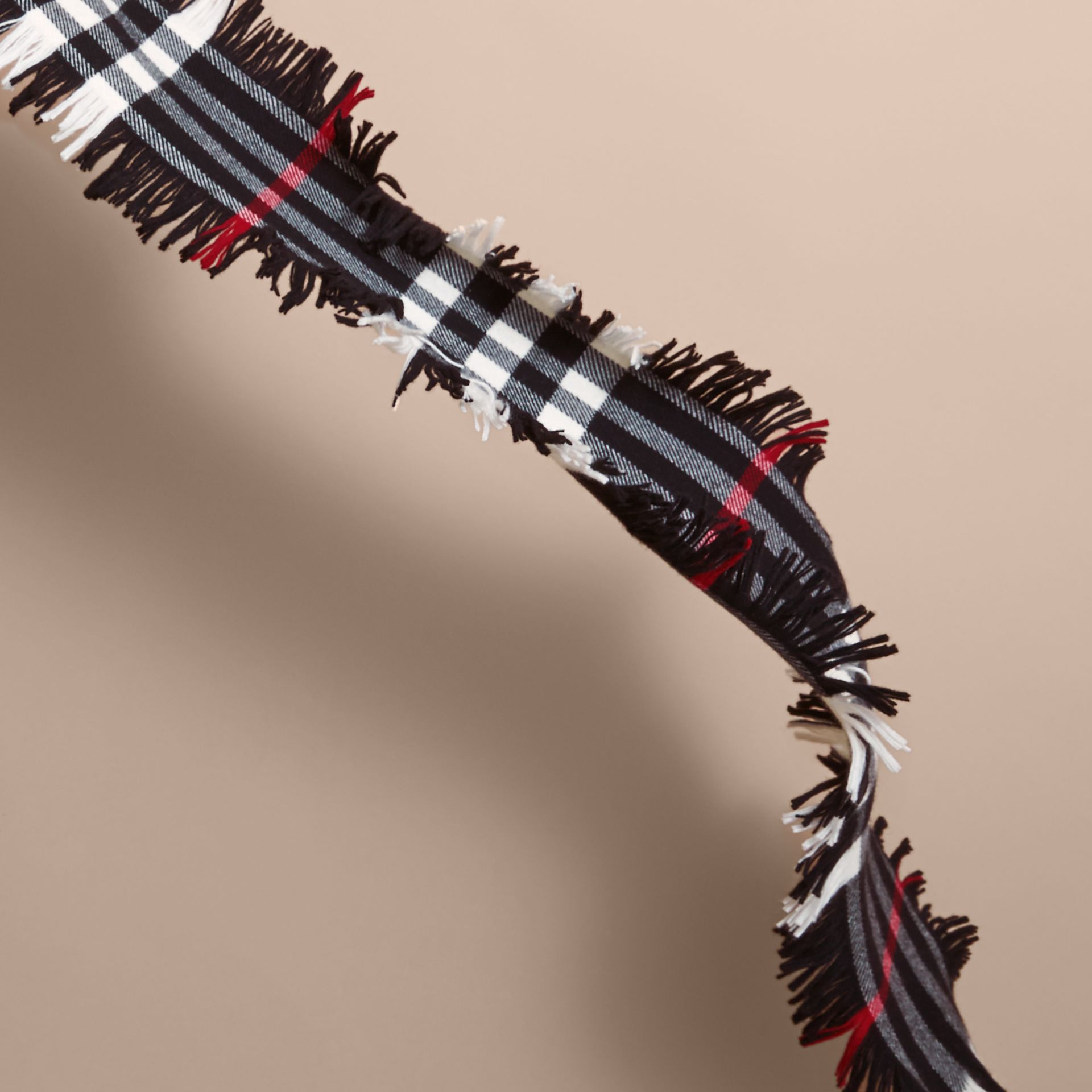 Fringed Check Wool Mini Scarf in Black | Burberry Canada - gallery image 2