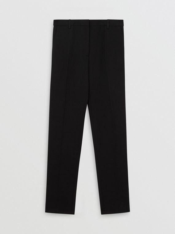 Satin Stripe Wool Silk Tailored Trousers in Black
