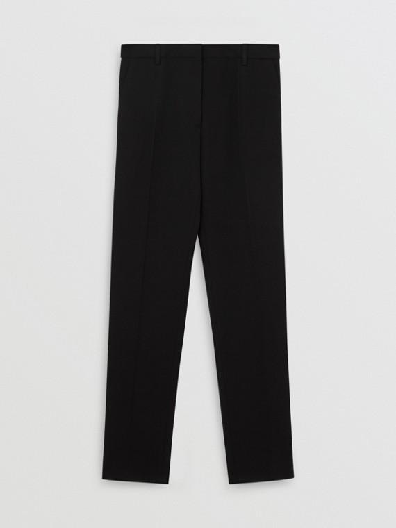 綢緞條紋羊毛絲綢套量裁製長褲 (黑色)