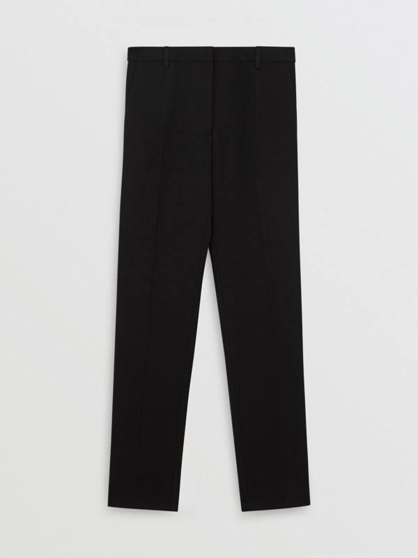 Satin Stripe Wool Silk Tailored Trousers in Black - Women | Burberry - cell image 3