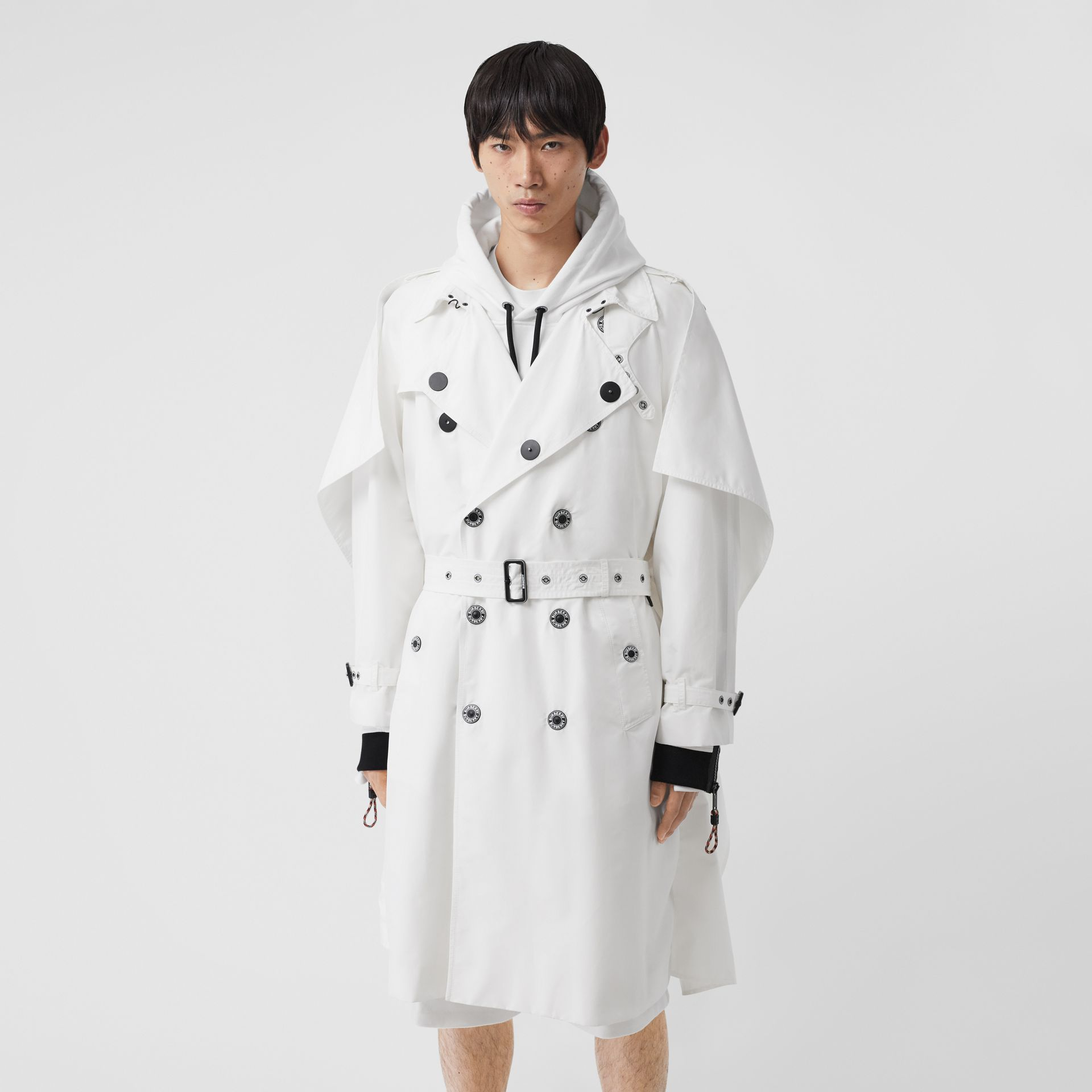 Cape Detail Technical Faille Reconstructed Trench Coat in Optic White - Men | Burberry Singapore - gallery image 5