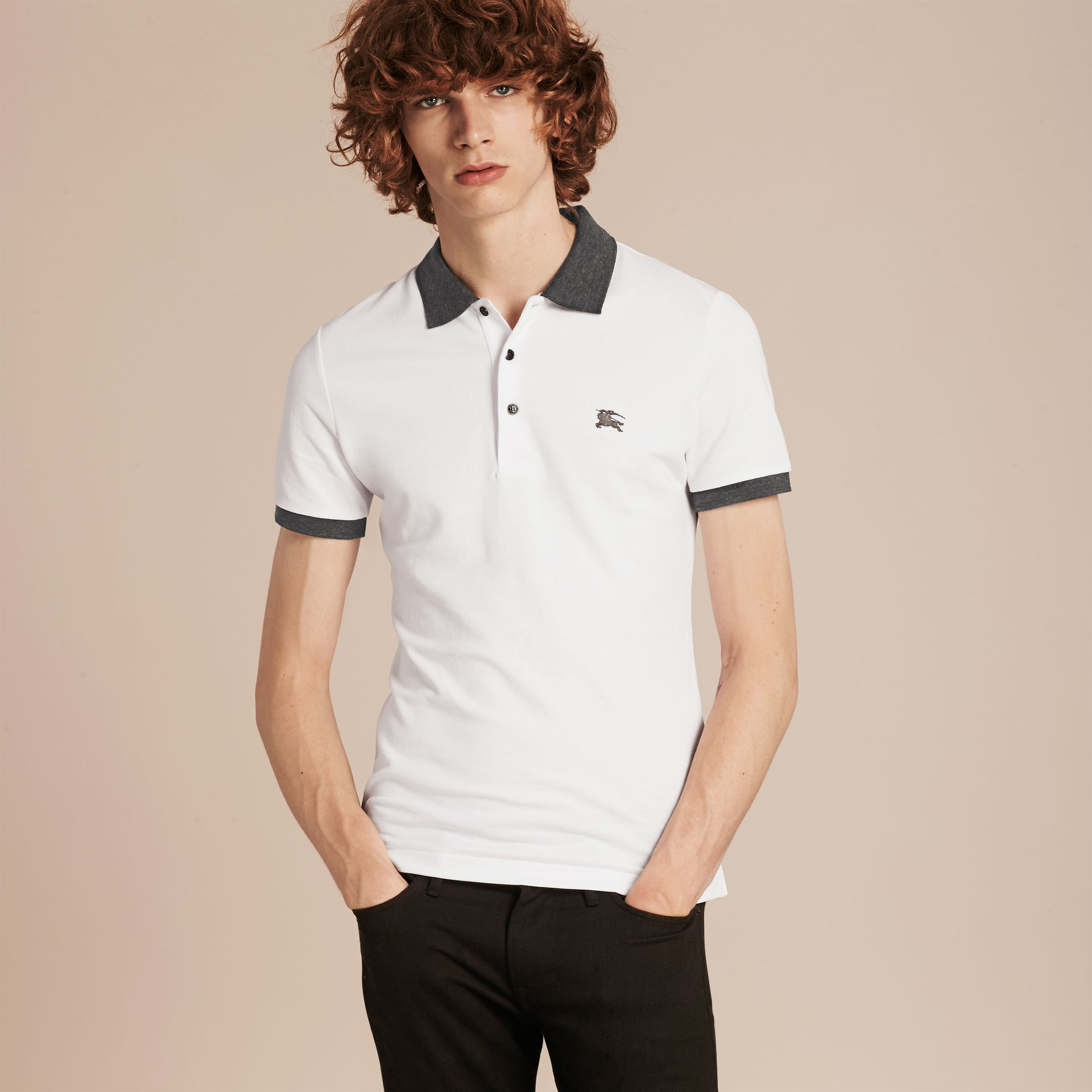 Contrast Colour Detail Cotton Piqué Polo Shirt in White - gallery image 6