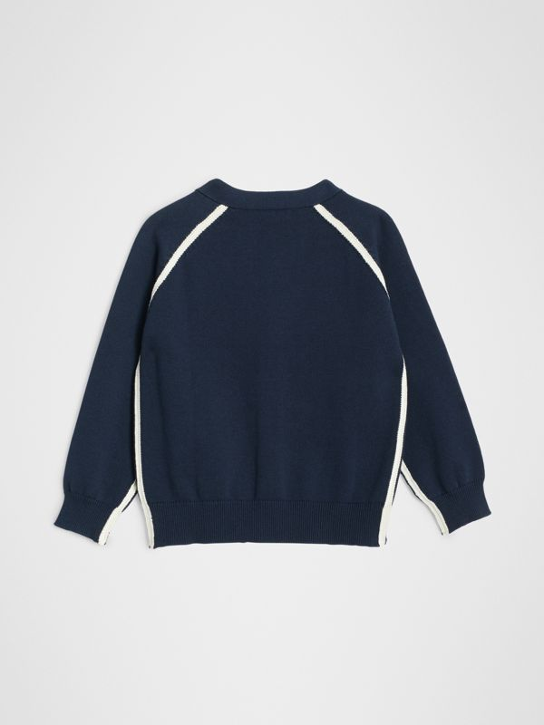 Two-tone Cotton Knit Cardigan in Navy | Burberry - cell image 3