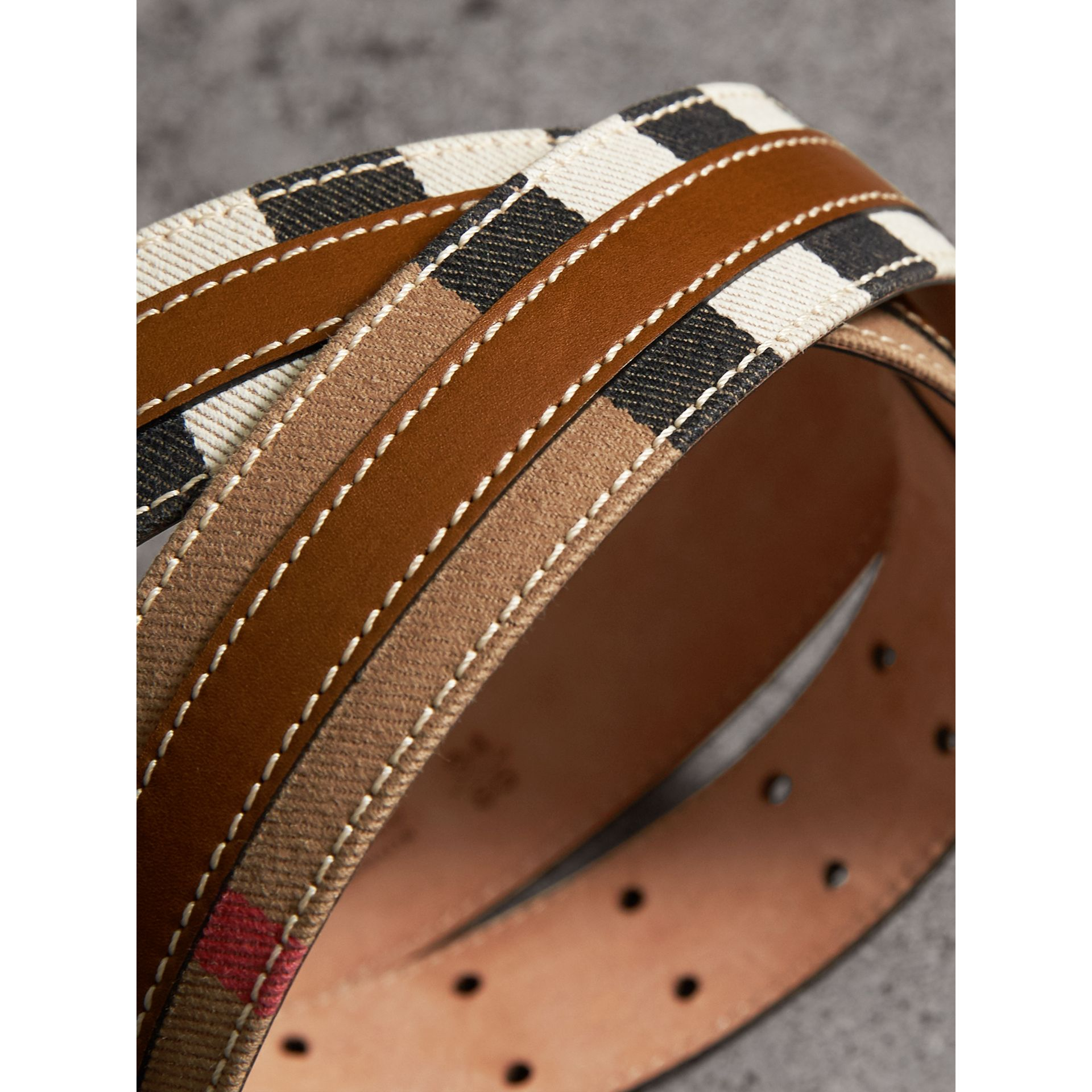 Topstitched House Check and Leather Belt in Sienna Brown - Women | Burberry - gallery image 1