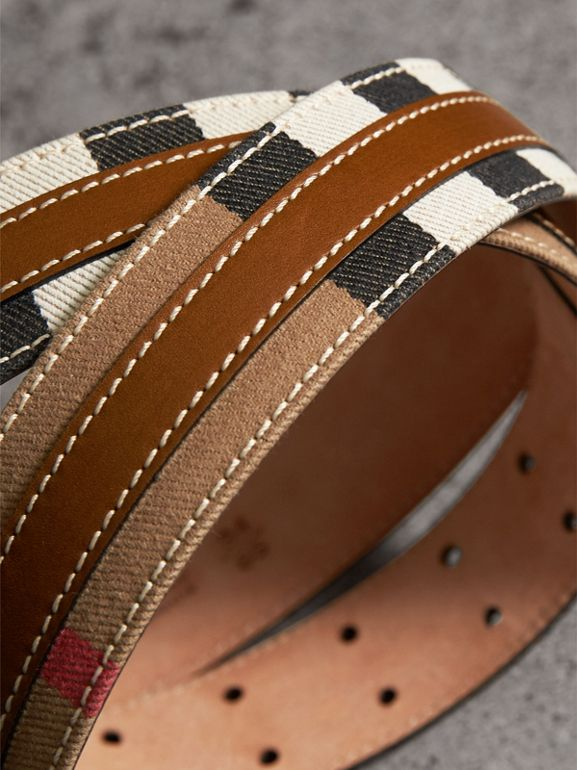 Topstitched House Check and Leather Belt in Sienna Brown - Women | Burberry - cell image 1