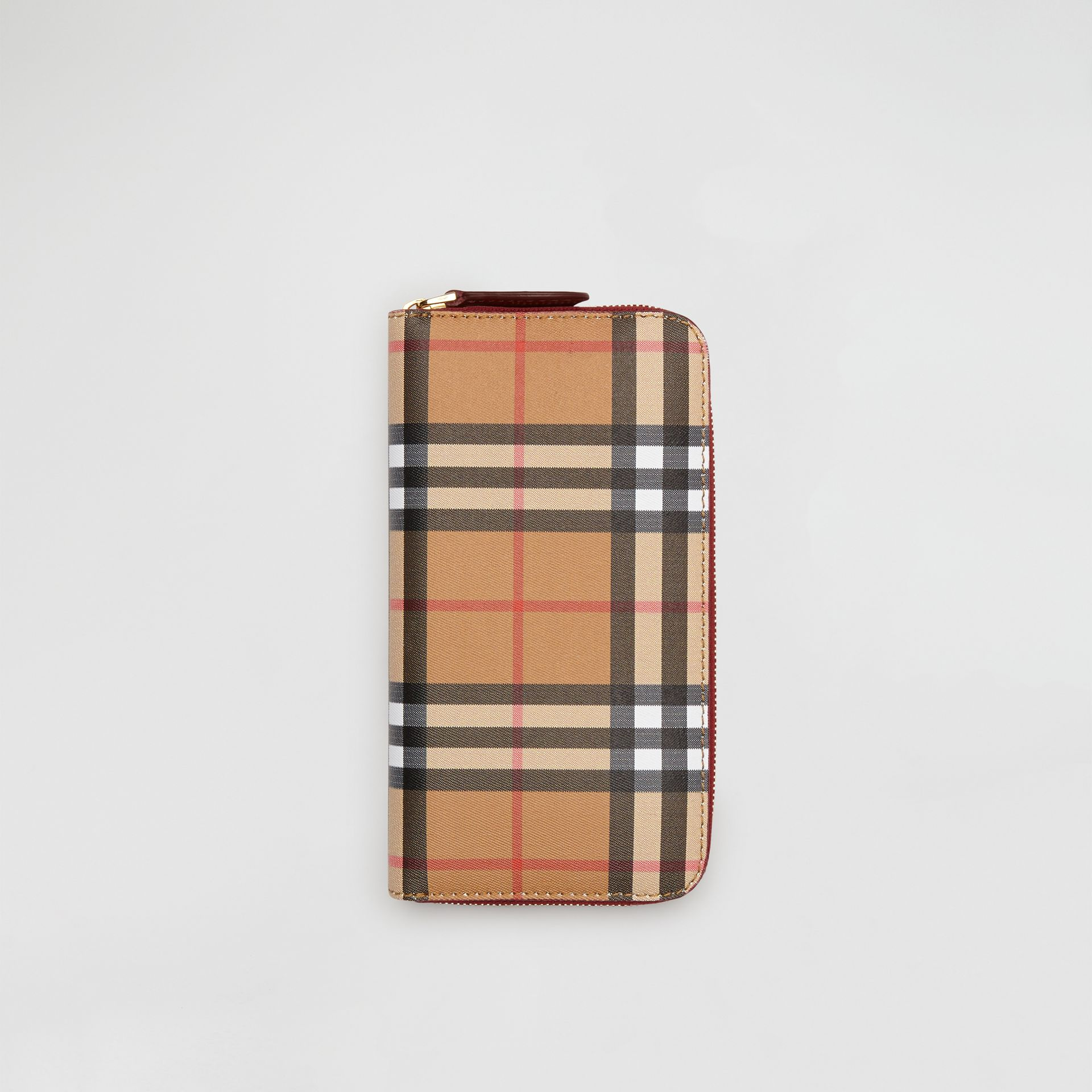 Vintage Check and Leather Ziparound Wallet in Crimson - Women | Burberry United Kingdom - gallery image 0