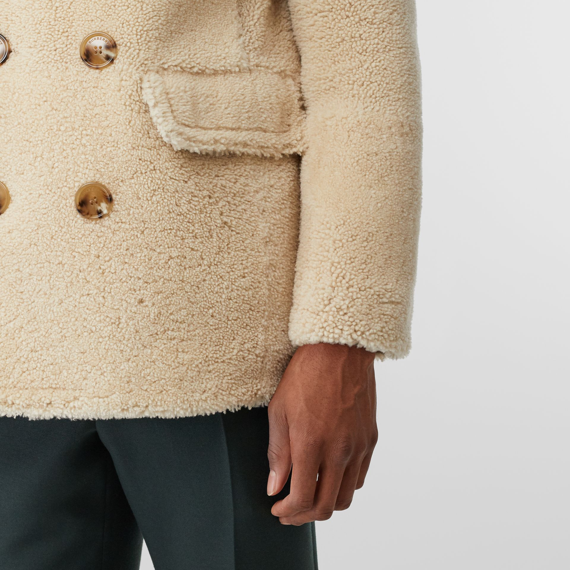 Contrast Wool Collar Shearling Pea Coat in Sesame - Men | Burberry - gallery image 4