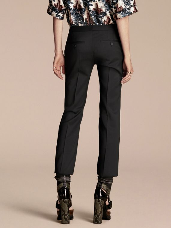 Black Cropped Stretch Wool Tailored Trousers - cell image 2