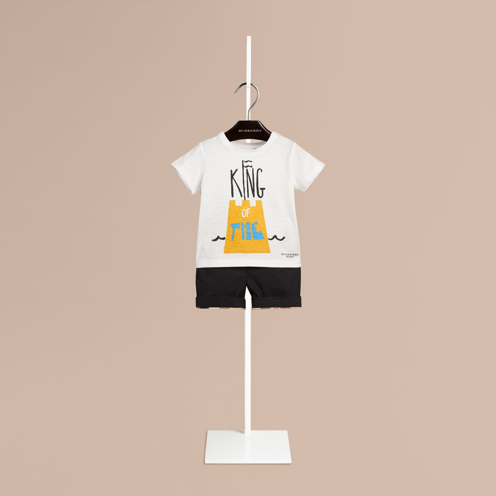 White Sandcastle Graphic Cotton T-shirt - gallery image 1