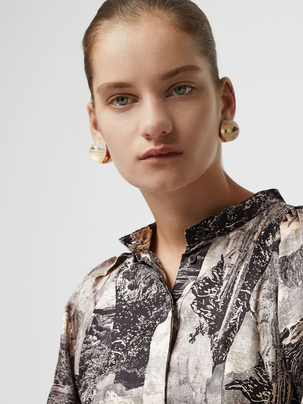 Dreamscape Print Silk Shirt Dress in Pale Apricot - Women | Burberry United Kingdom - cell image 3