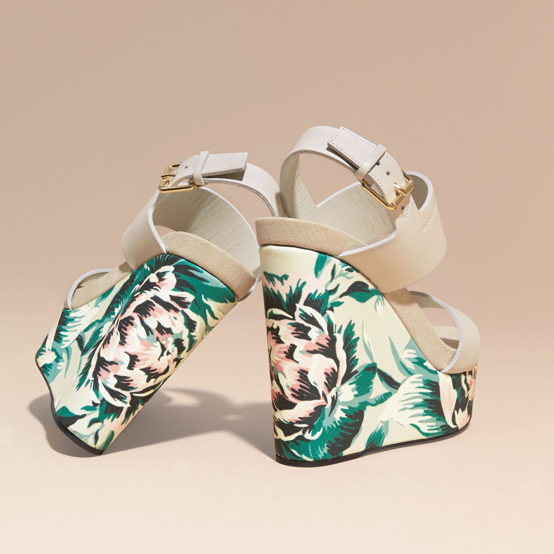 Peony Rose Print Leather Platform Wedges Emerald Green - gallery image 4