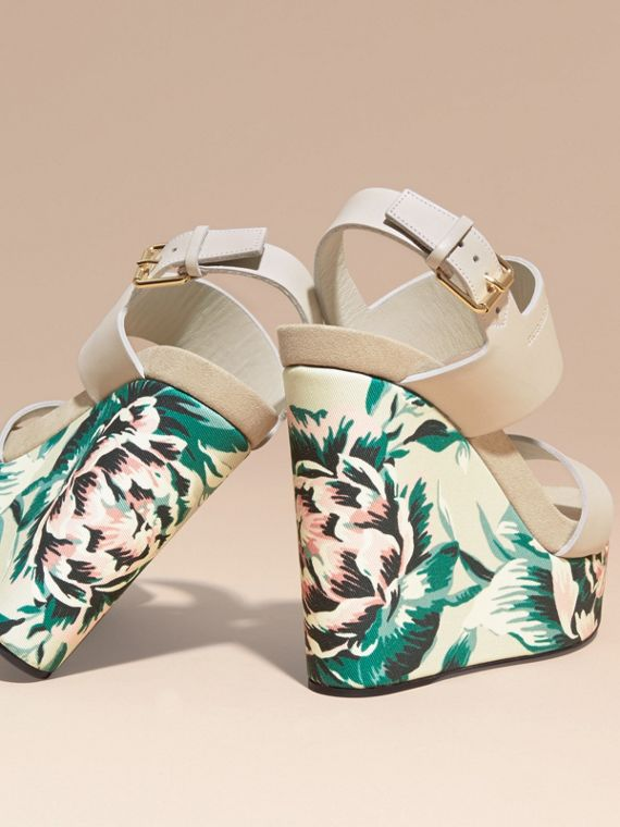 Peony Rose Print Leather Platform Wedges Emerald Green - cell image 3