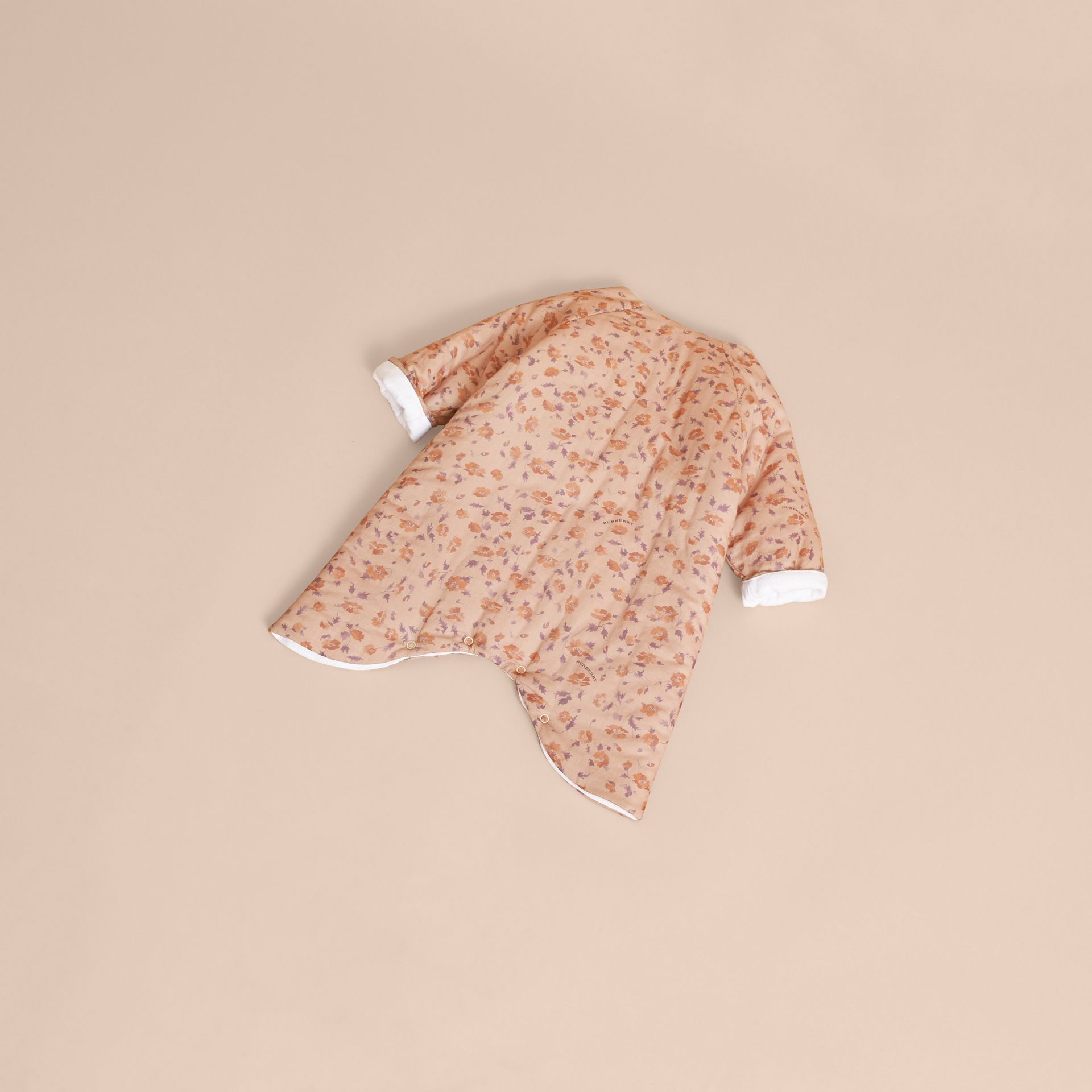 Floral Print Padded Cotton Playsuit in Light Copper | Burberry - gallery image 3