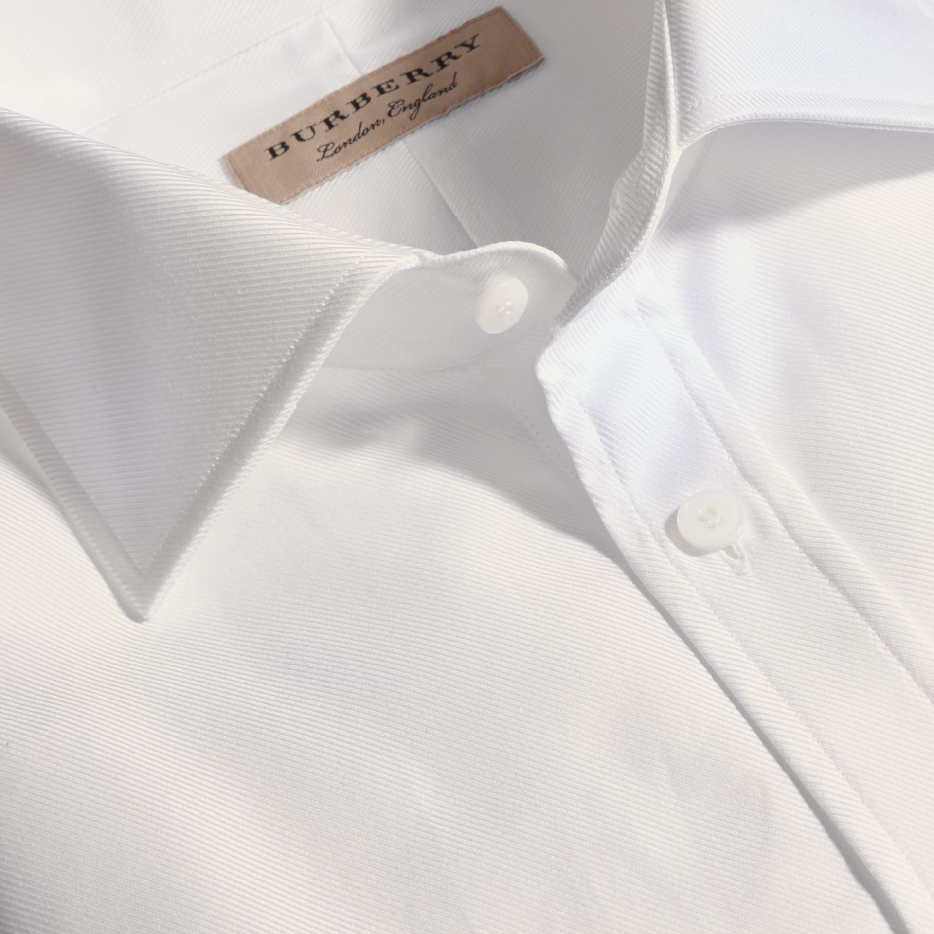 White Modern Fit Cotton Twill Shirt White - gallery image 2