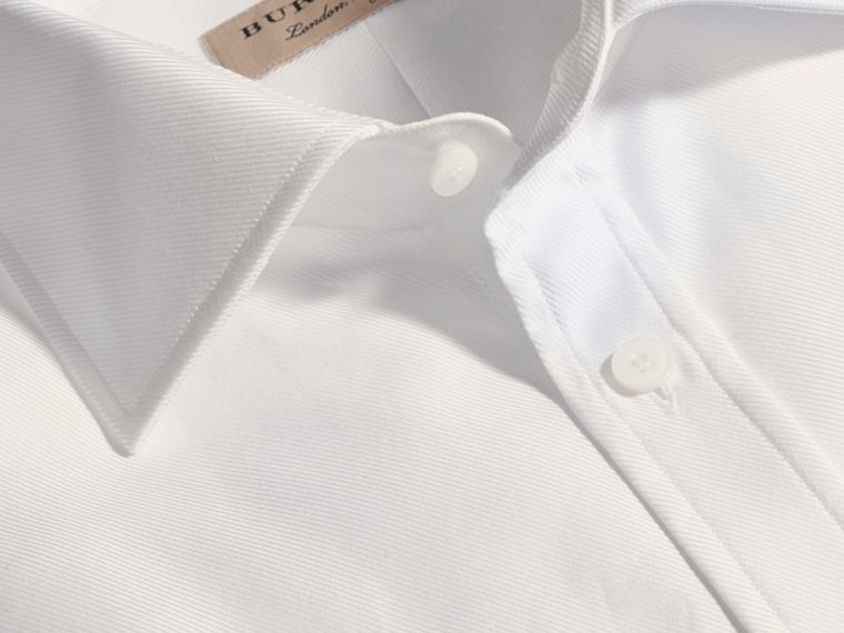 White Modern Fit Cotton Twill Shirt White - cell image 1