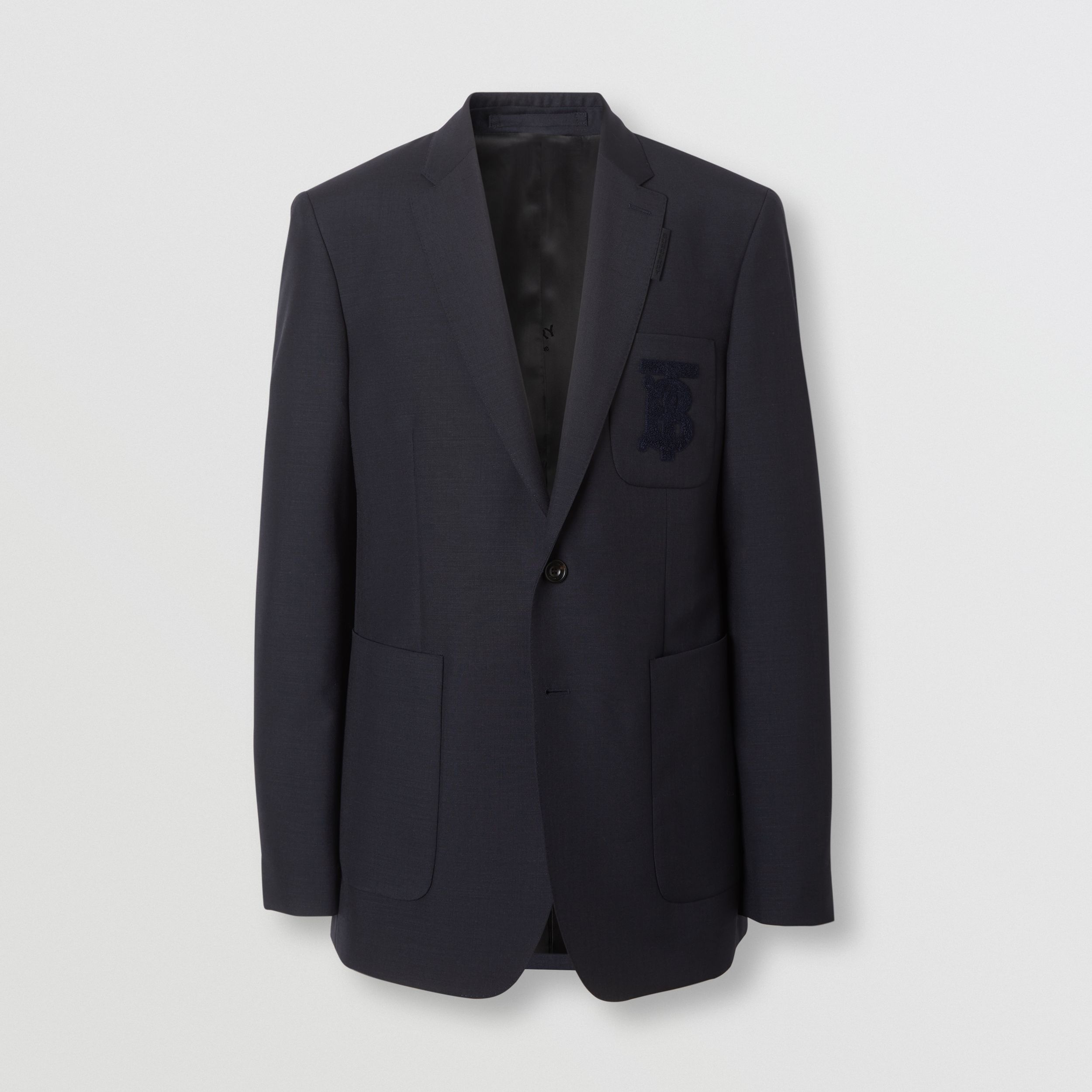 Slim Fit Monogram Motif Wool Mohair Tailored Jacket in Navy - Men | Burberry - 4
