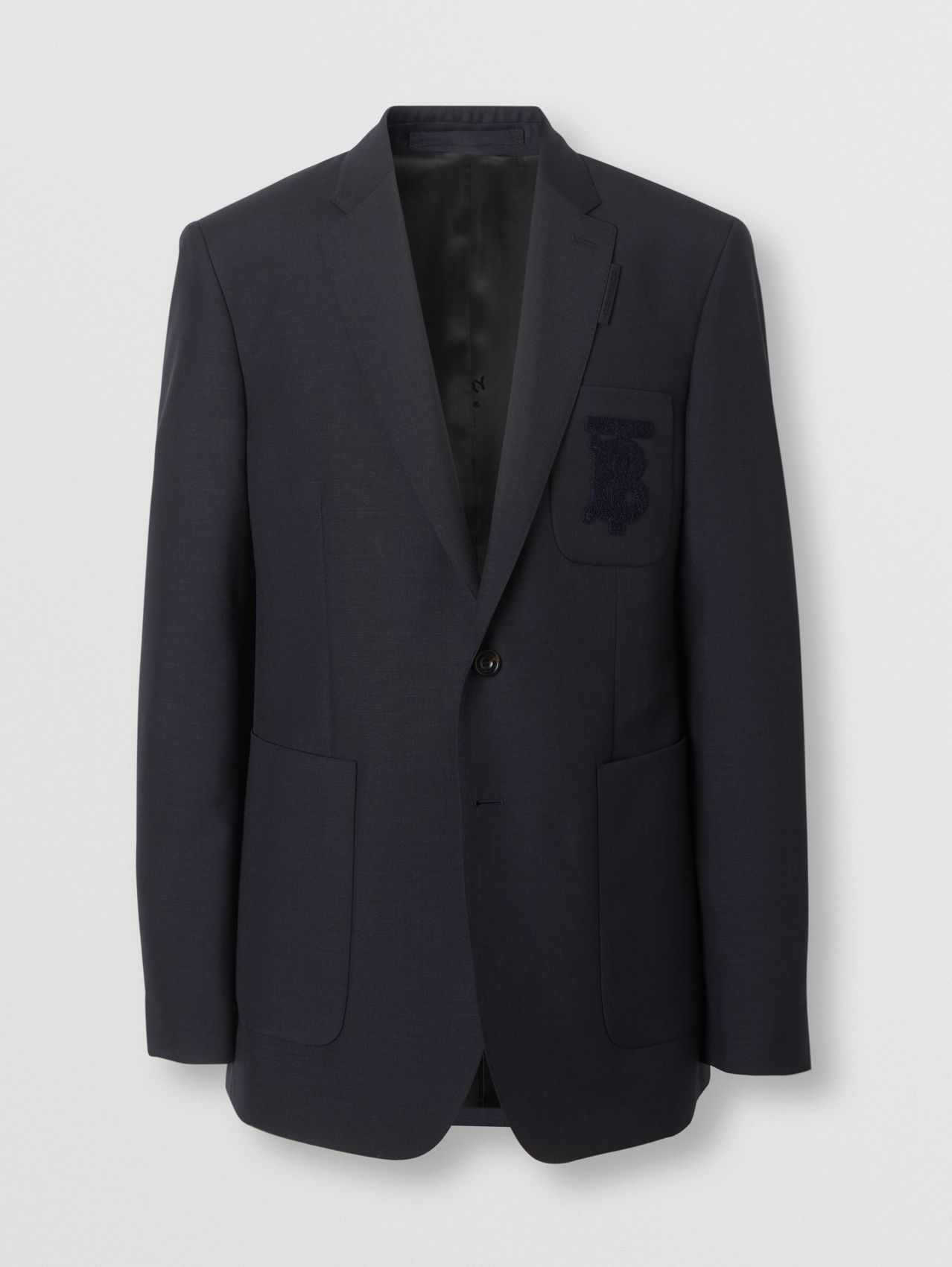 Slim Fit Monogram Motif Wool Mohair Tailored Jacket (Navy)