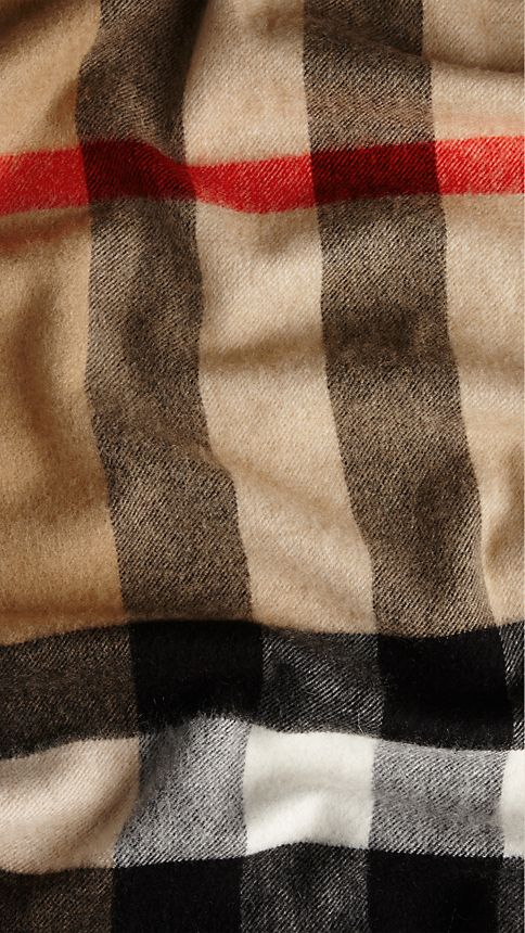 Camel check Giant Exploded Check Cashmere Scarf Camel - Image 5