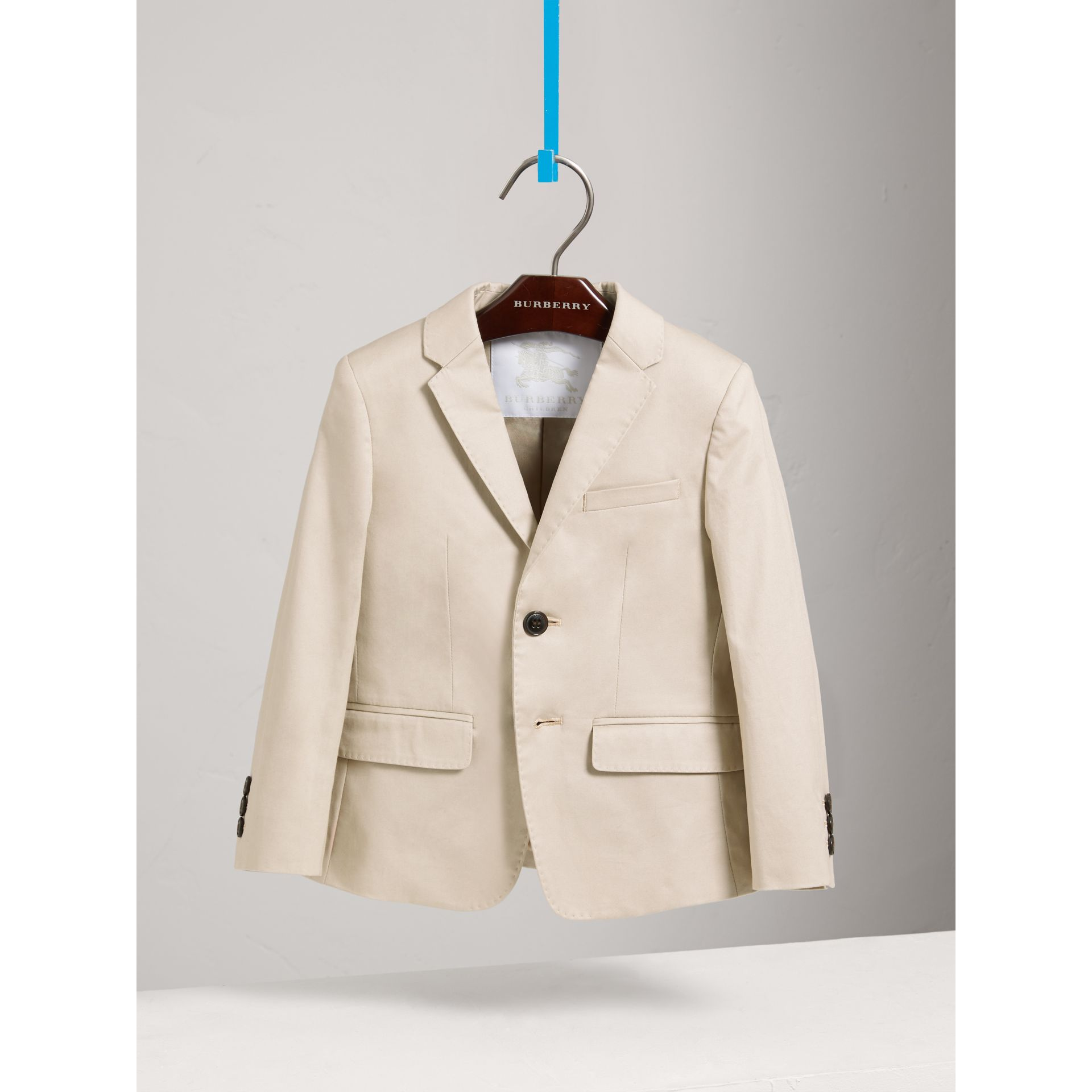 Tailored Stretch Cotton Blazer in Stone - Boy | Burberry - gallery image 2