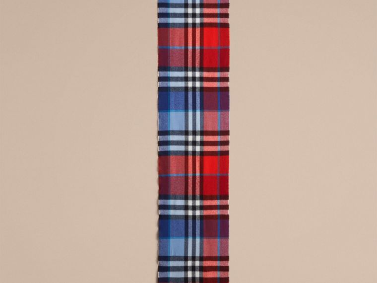 Overdyed Exploded Check Merino Wool Scarf in Bright Orange Red/cornflower Blue | Burberry Australia - cell image 2