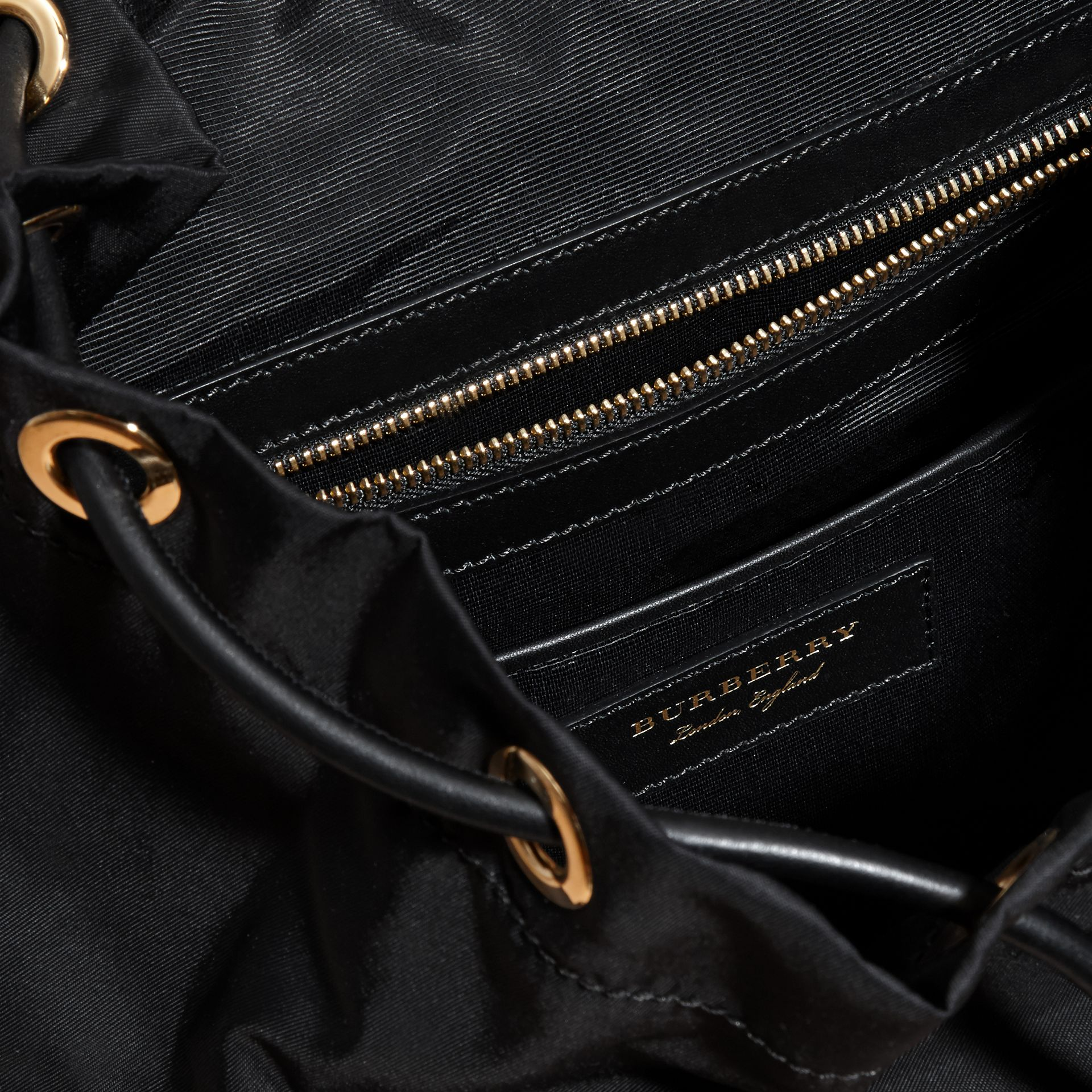 Black/gold The Large Rucksack in Two-tone Nylon and Leather - gallery image 6