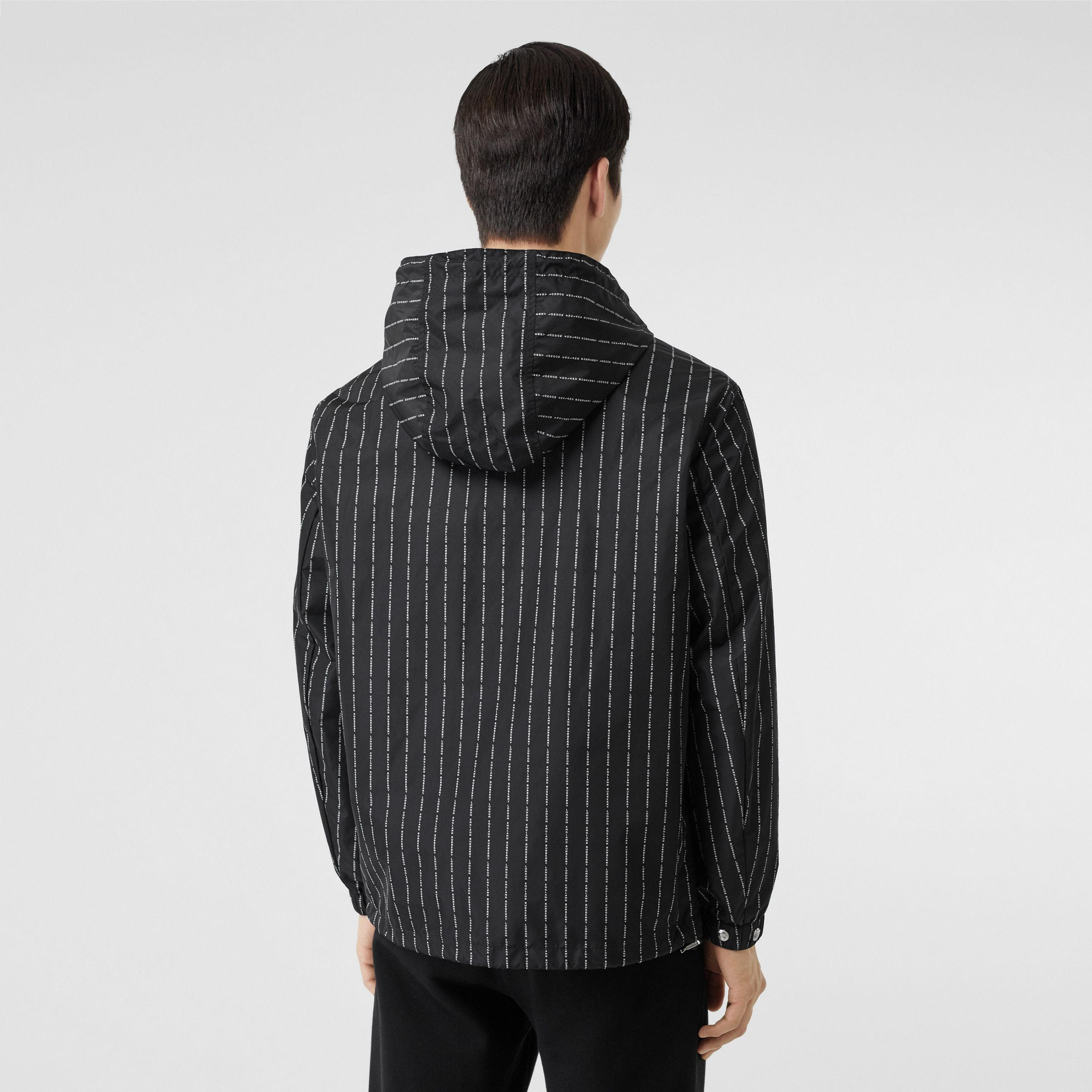 Logo Pinstripe Nylon Hooded Jacket in Black - Men | Burberry - 3