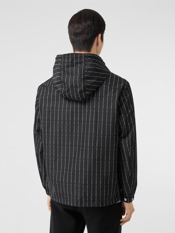 Logo Pinstripe Nylon Hooded Jacket in Black - Men   Burberry United Kingdom - cell image 2