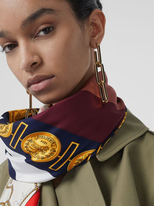 Archive Scarf Print Silk Oversized Scarf in Bright Ultramarine | Burberry - cell image 3