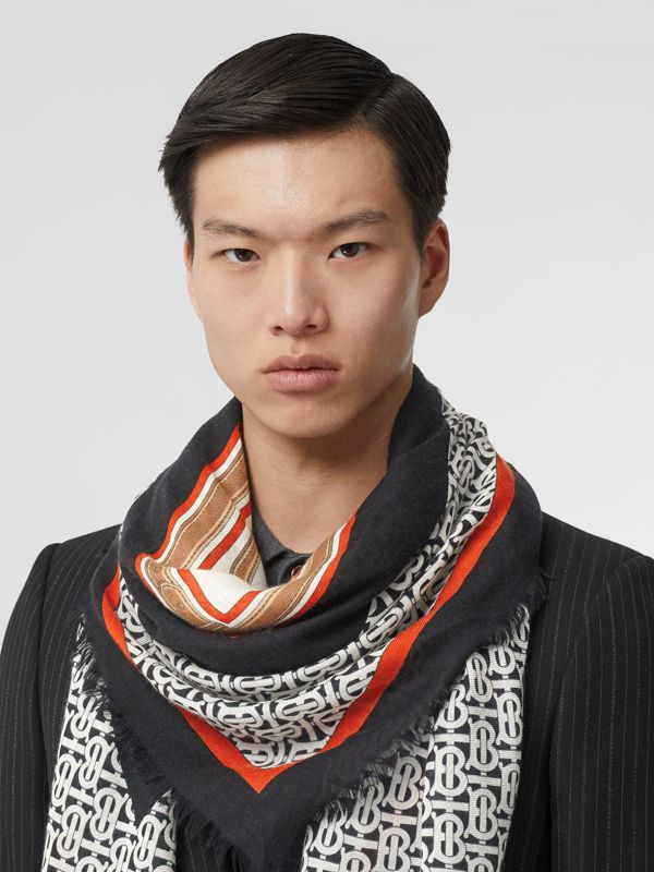 Archive Scarf Print Cashmere Large Square Scarf in Black | Burberry - cell image 3