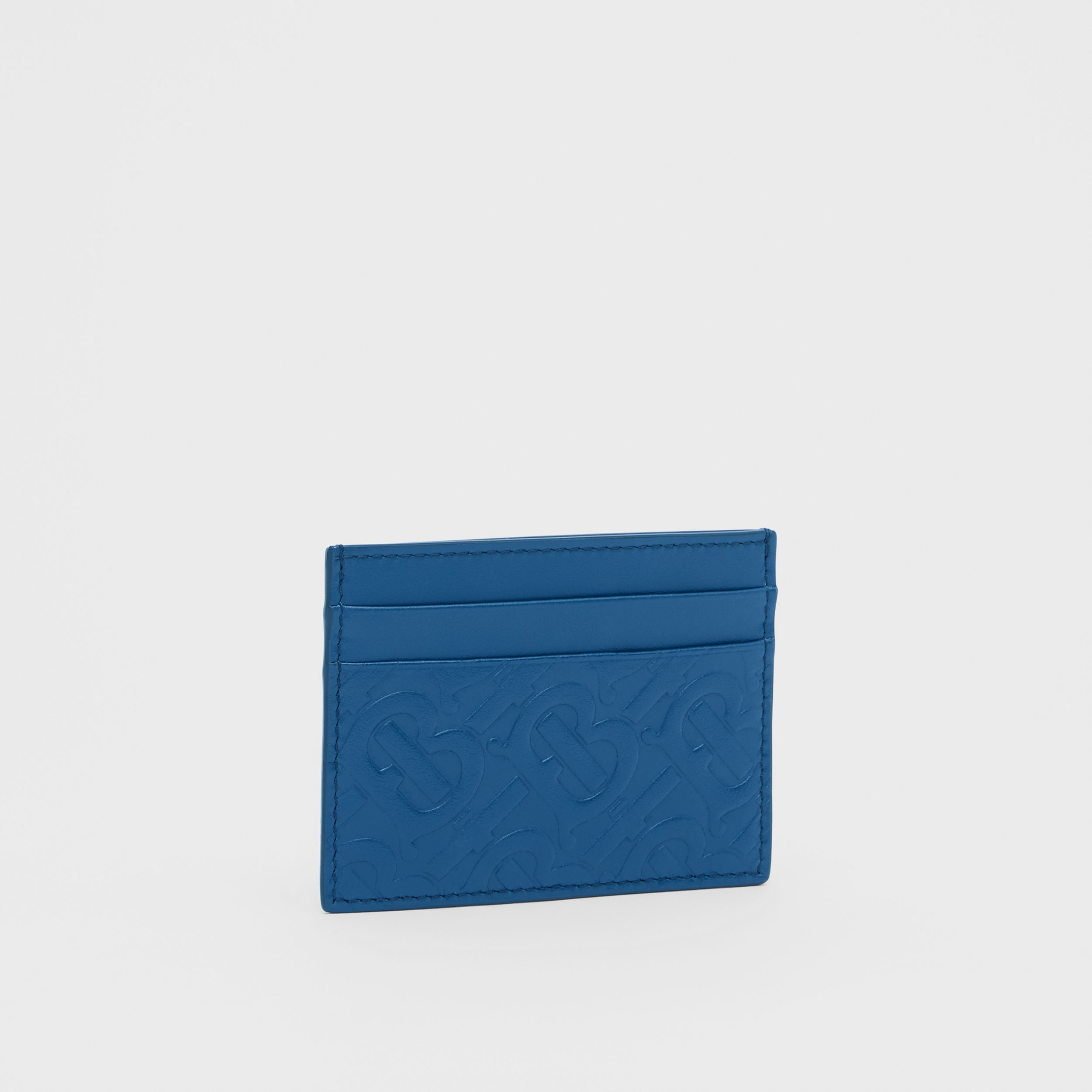 Monogram Leather Card Case in Pale Canvas Blue - Men | Burberry United Kingdom - 4