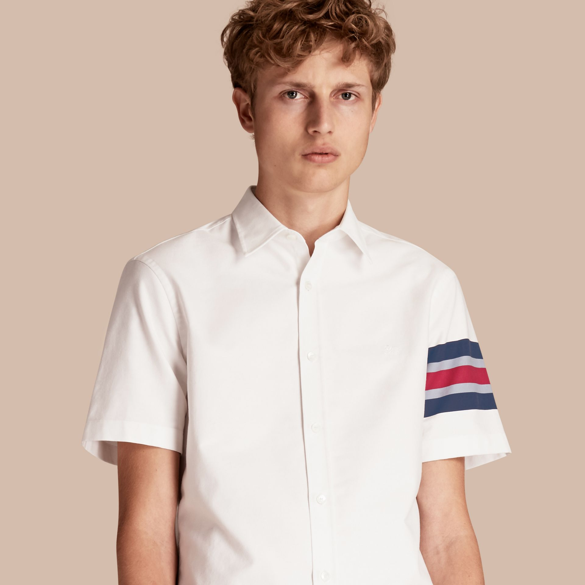 White Short-sleeved Oxford Cotton Shirt with Regimental Detail - gallery image 1