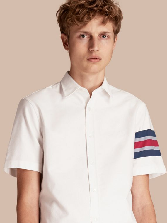Short-sleeved Oxford Cotton Shirt with Regimental Detail
