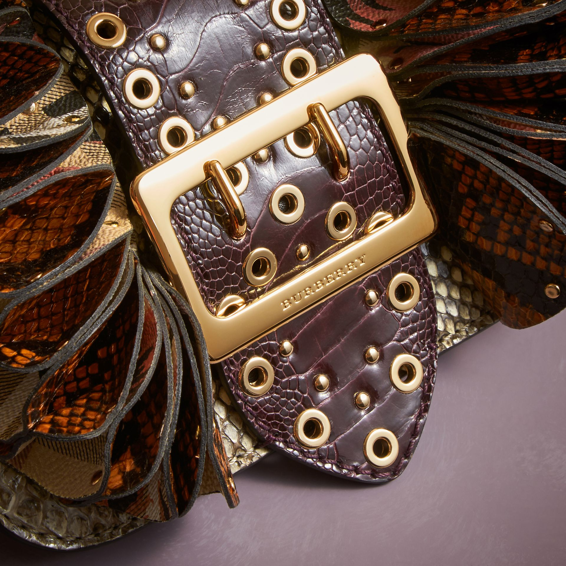The Ruffle Buckle Bag in Snakeskin, Ostrich and Check Natural - gallery image 5