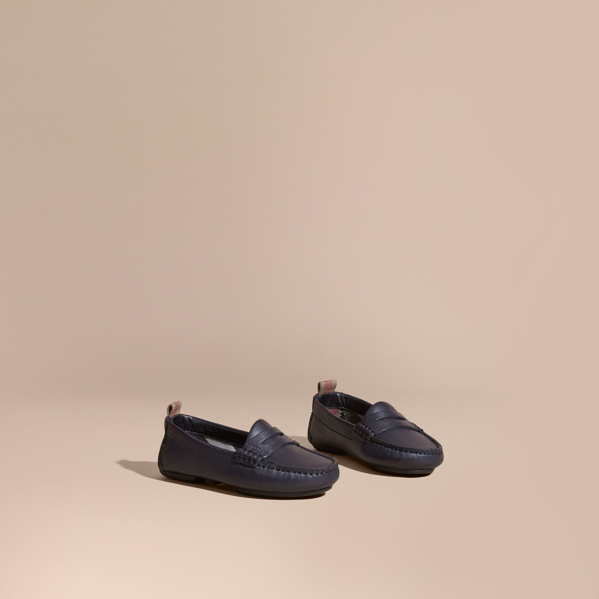 Navy Leather Loafers - gallery image 1