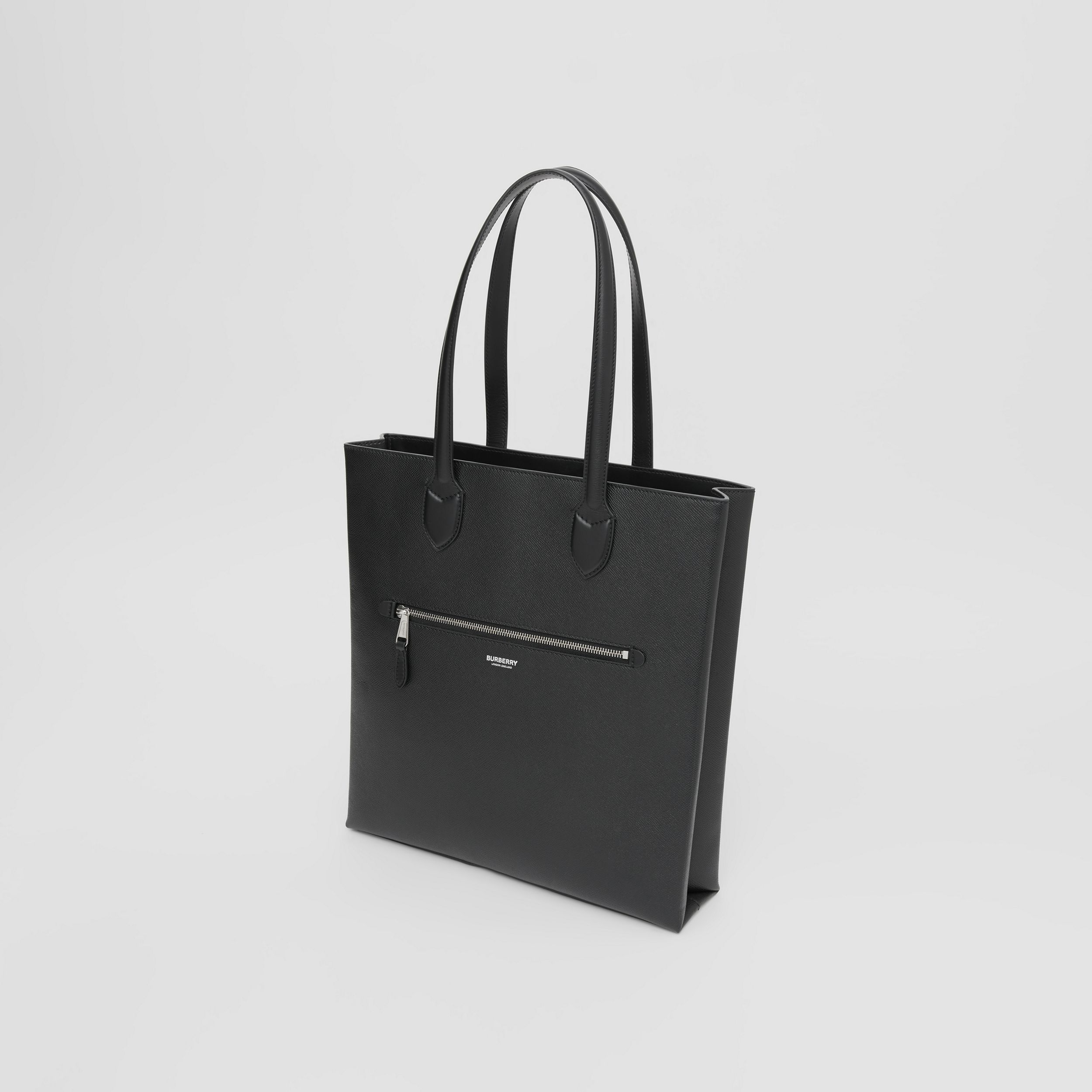Medium Grainy Leather Tote in Black - Men | Burberry - 4
