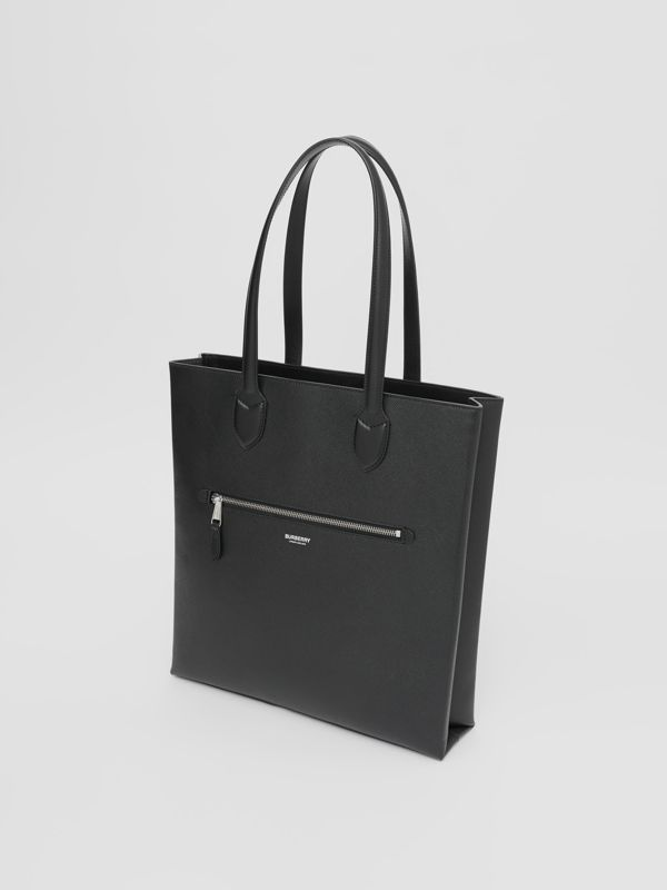 Medium Grainy Leather Tote in Black - Men | Burberry - cell image 3