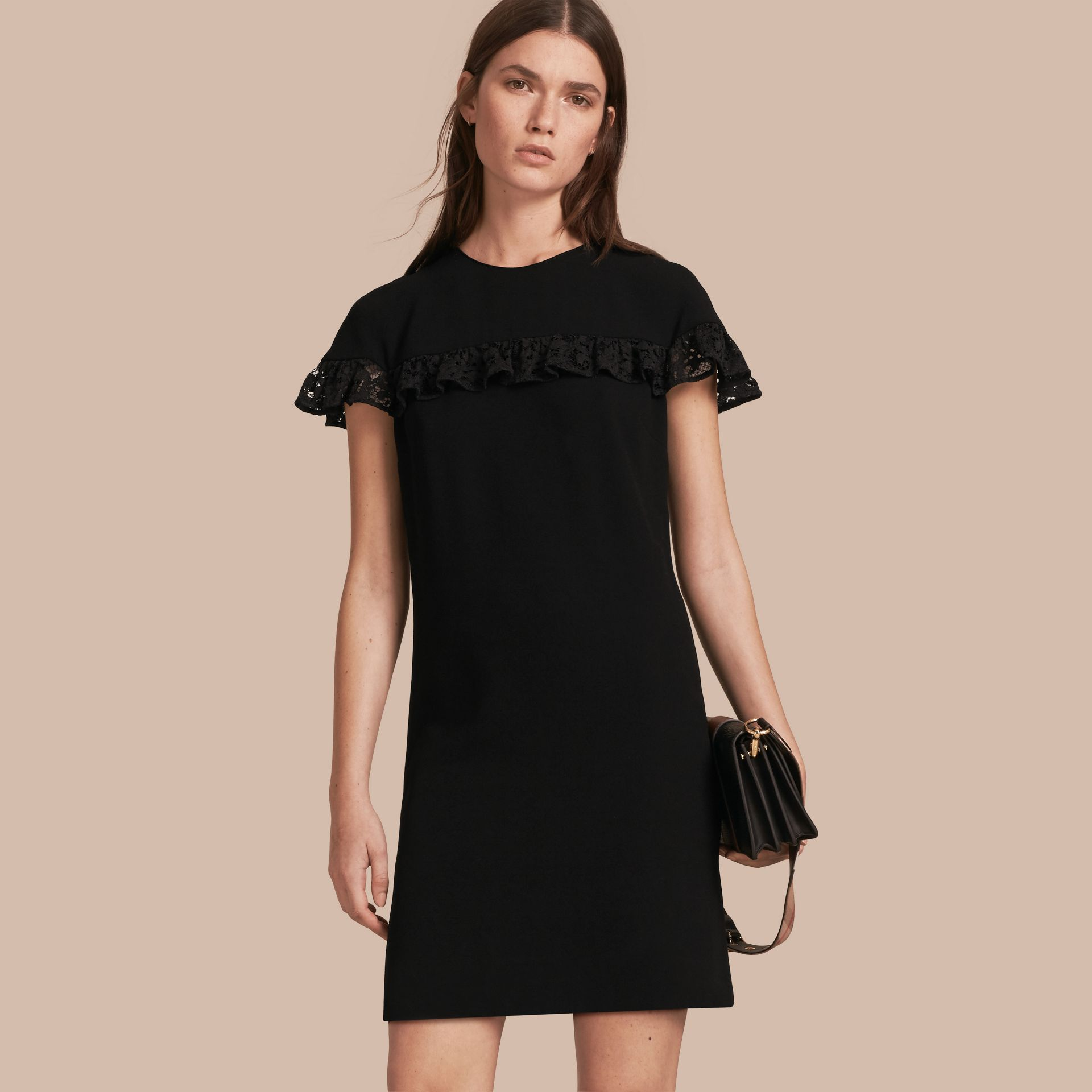 Black Shift Dress with Lace Ruffle - gallery image 1