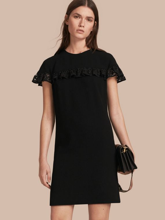 Shift Dress with Lace Ruffle