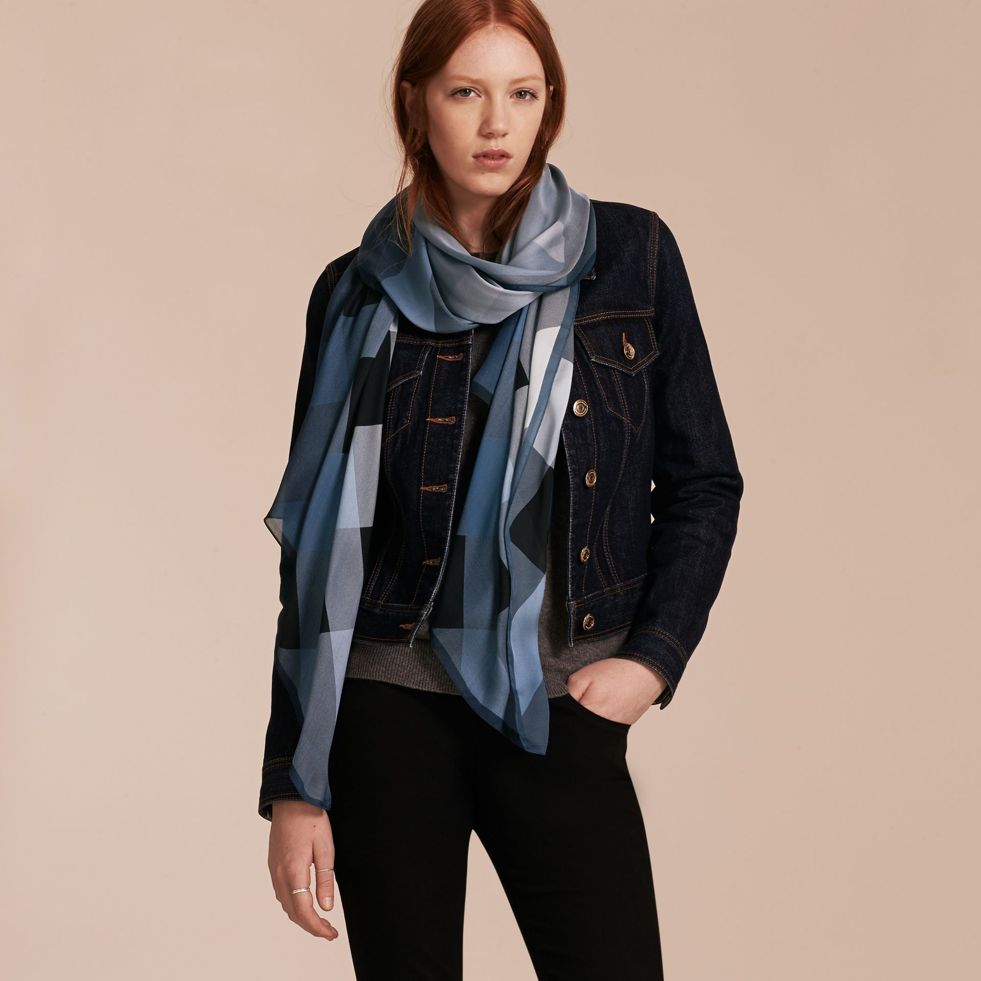 Ombré Washed Check Silk Scarf in Dusty Blue - Women | Burberry - gallery image 3