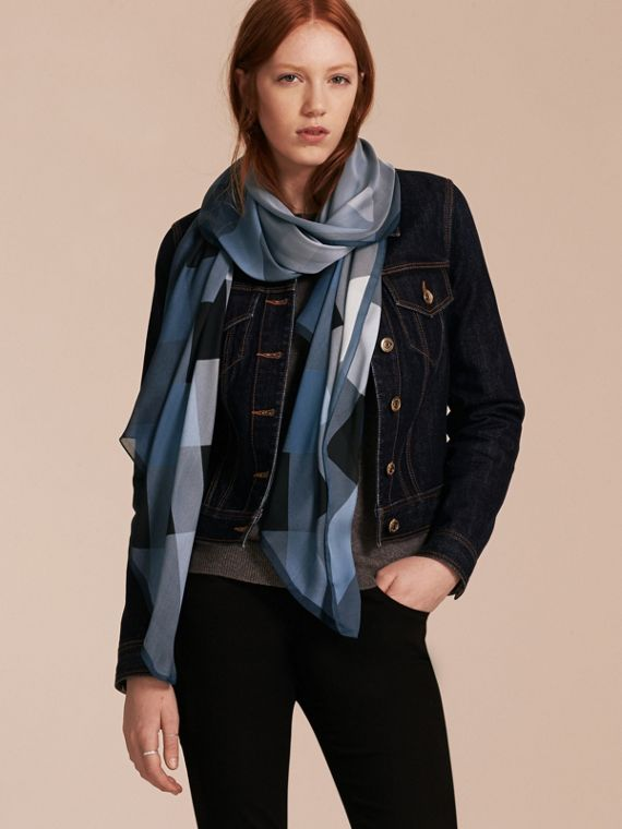 Ombré Washed Check Silk Scarf in Dusty Blue - cell image 2