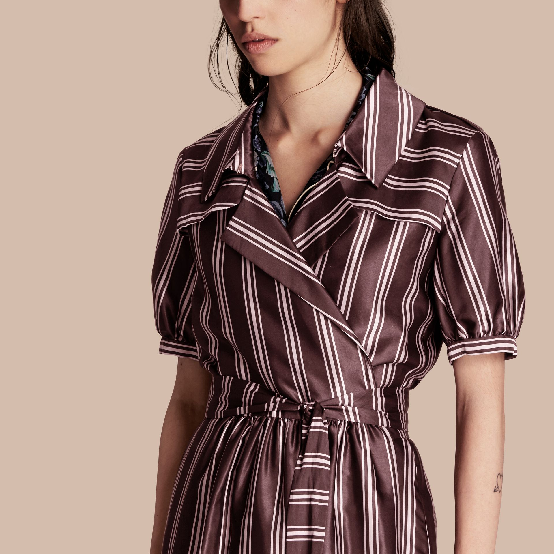 Crimson Panama Stripe Cotton Silk Fixed Wrap Dress - gallery image 5