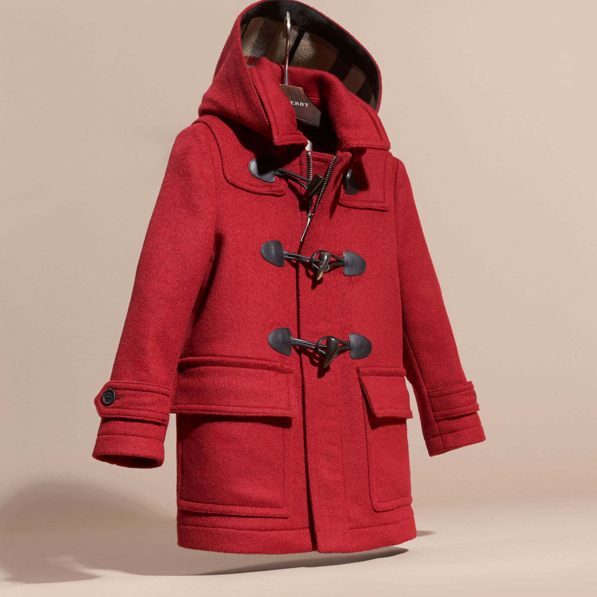 Windsor red Wool Duffle Coat with Check and Hearts Lining - gallery image 3