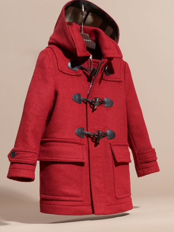 Windsor red Wool Duffle Coat with Check and Hearts Lining - cell image 2