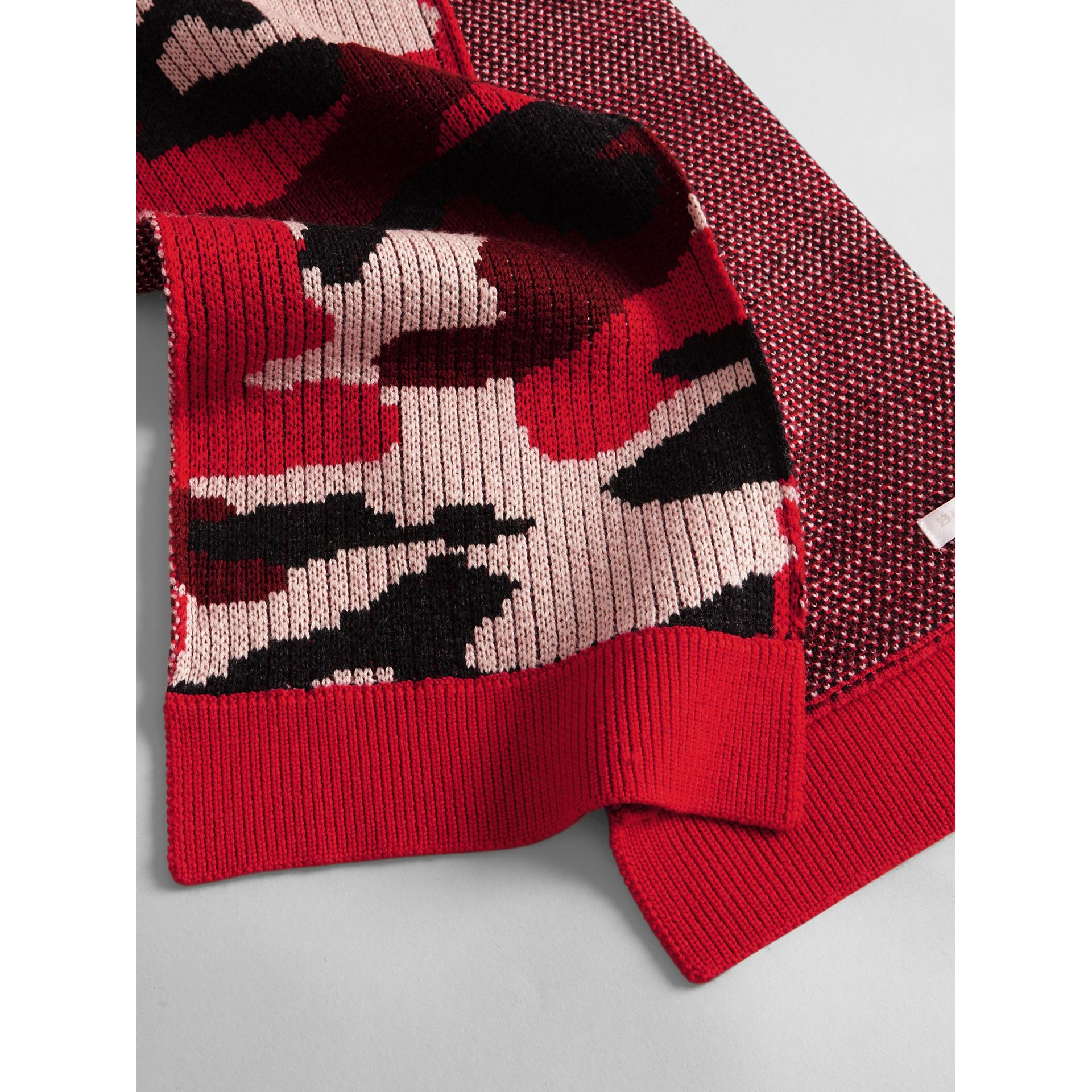Camouflage Merino Wool Scarf in Bright Red | Burberry United Kingdom - gallery image 1