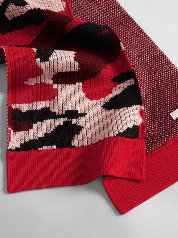 Camouflage Merino Wool Scarf in Bright Red | Burberry - cell image 1