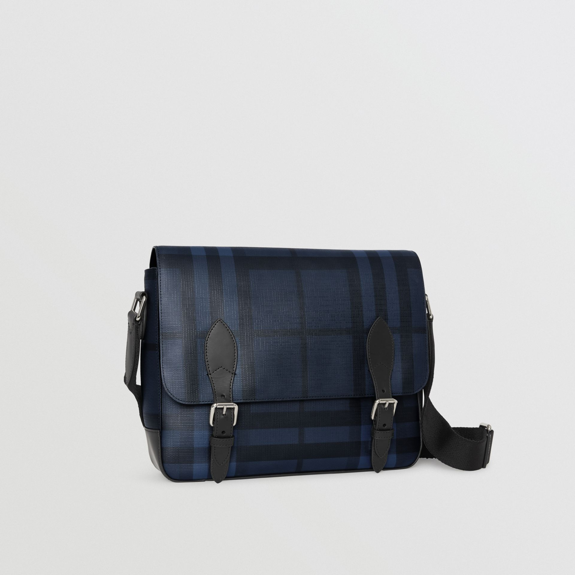 Medium Leather Trim London Check Messenger Bag in Navy/black - Men | Burberry Singapore - gallery image 6