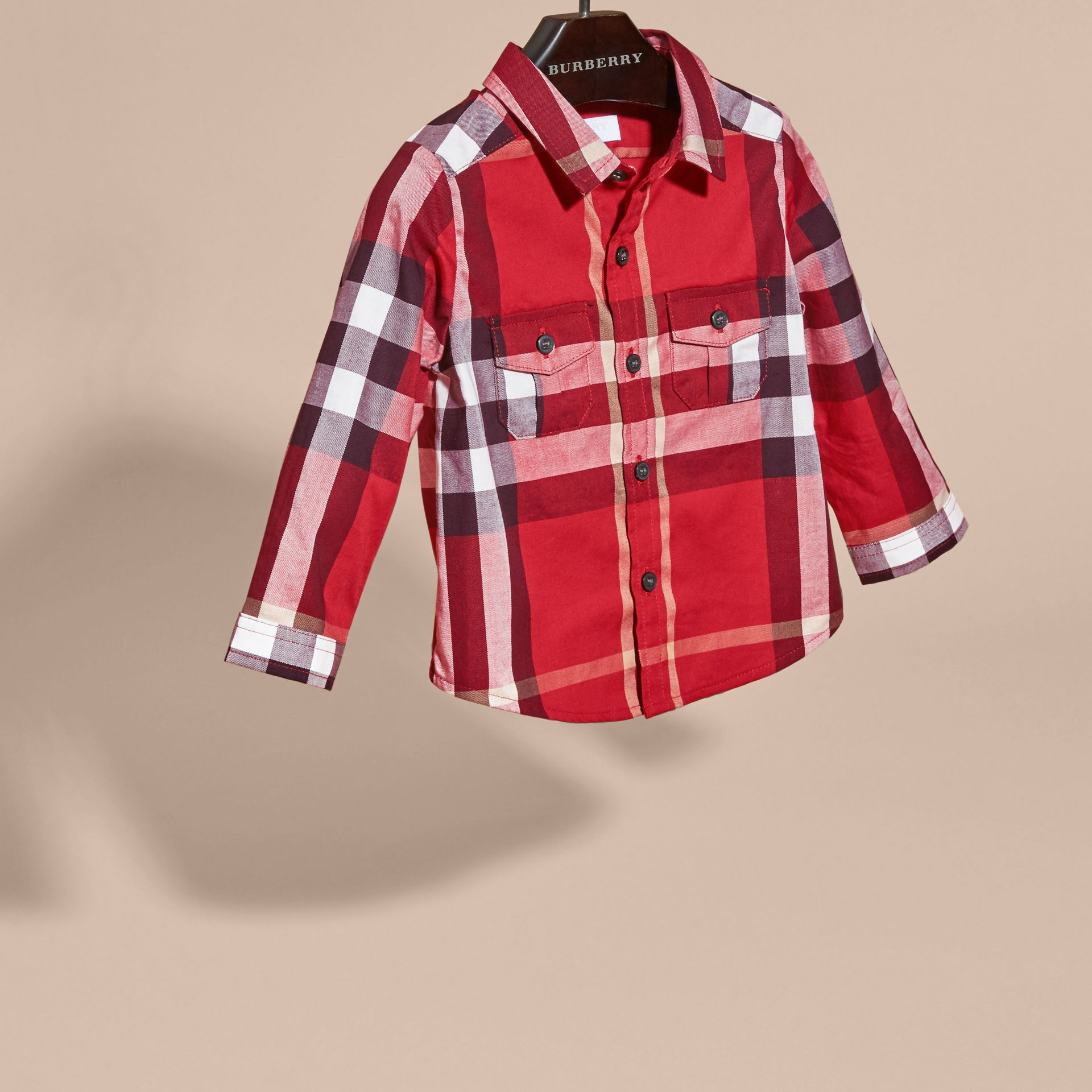 Parade red Check Cotton Shirt Parade Red - gallery image 3