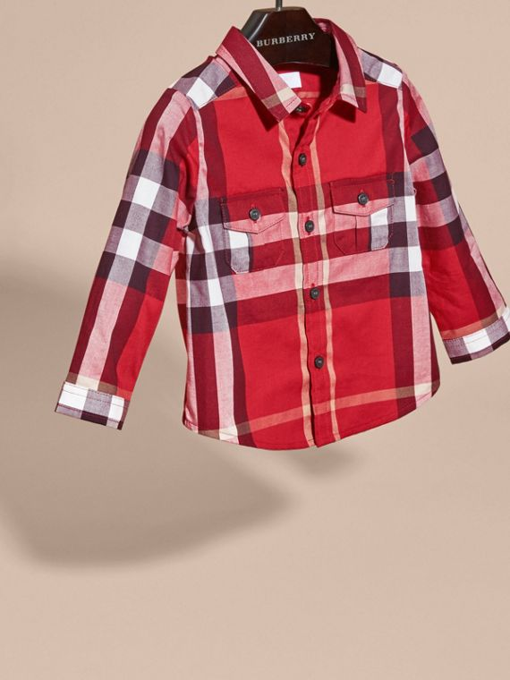 Check Cotton Shirt in Parade Red | Burberry - cell image 2