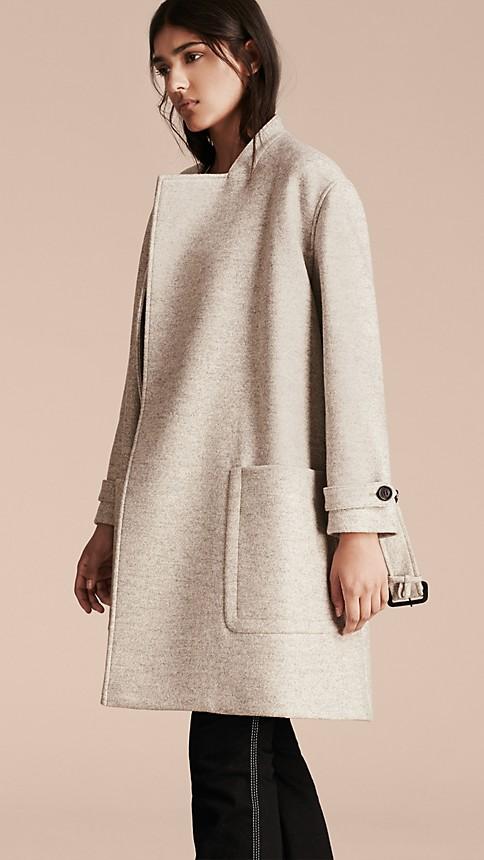 Pale grey melange Wool Belted Wrap Coat - Image 9