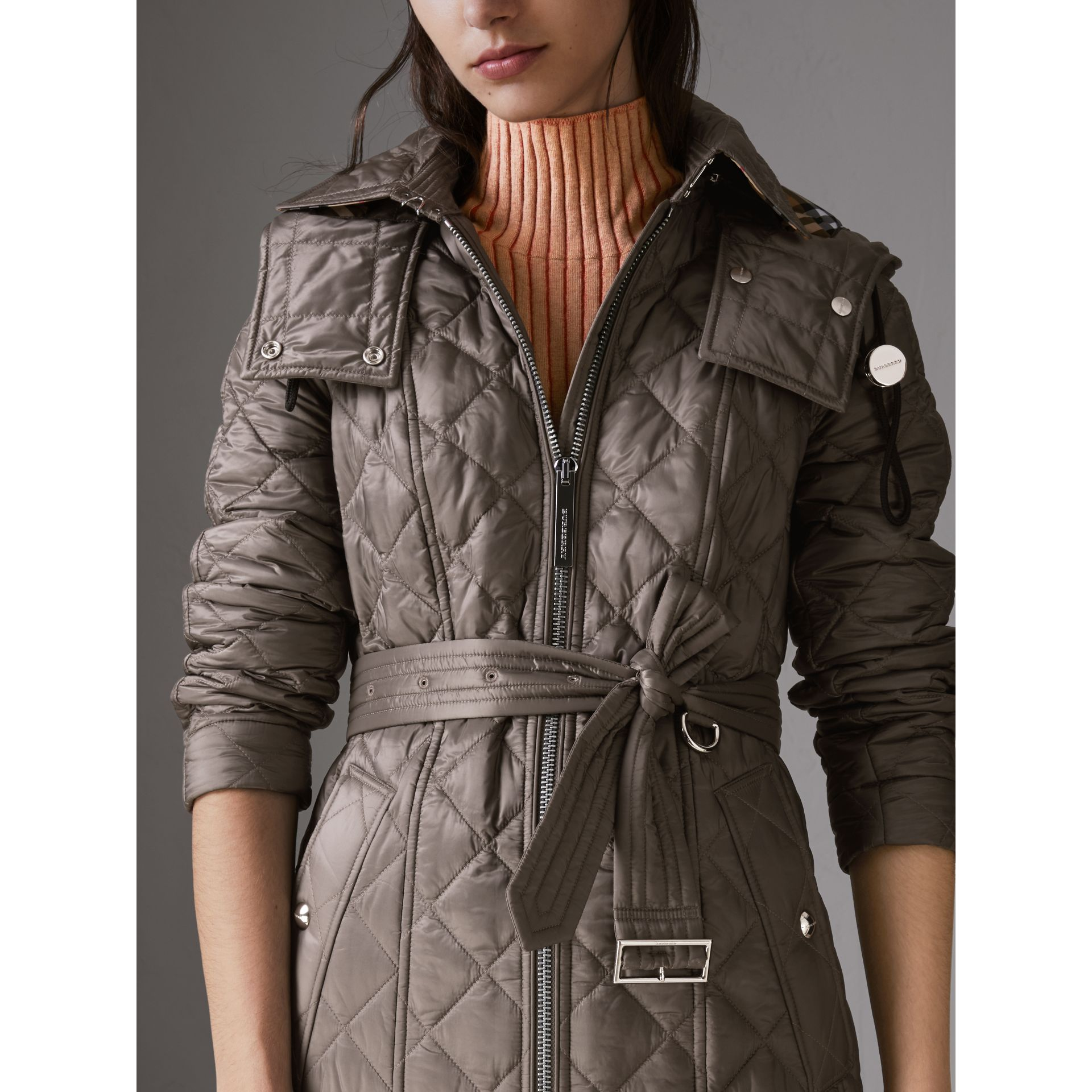 Detachable Hood Lightweight Diamond Quilted Coat in Mink Grey - Women | Burberry - gallery image 1